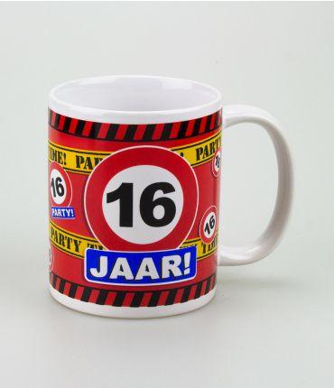 Funny Mugs - verkeersbord 16 jaar