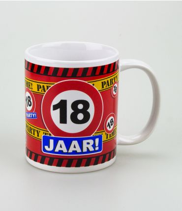 Funny Mugs - verkeersbord 18 jaar