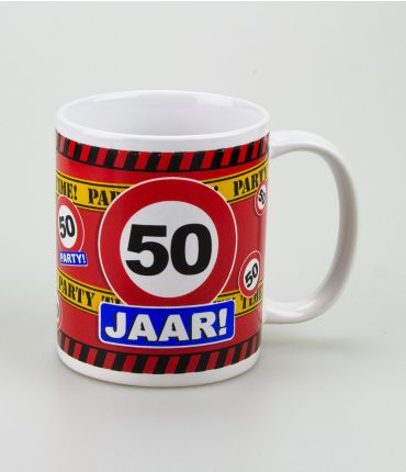 Funny Mugs - verkeersbord 50 jaar