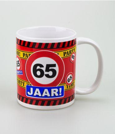 Funny Mugs - verkeersbord 65 jaar