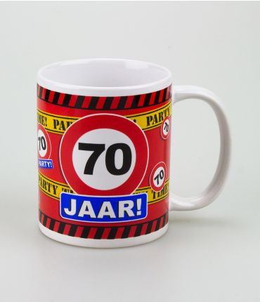 Funny Mugs - verkeersbord 70 jaar