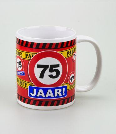Funny Mugs - verkeersbord  75 jaar