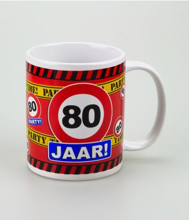 Funny Mugs - verkeersbord 80 jaar