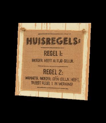 Wooden sign - Huisregels
