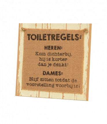 Wooden sign - Toiletregels