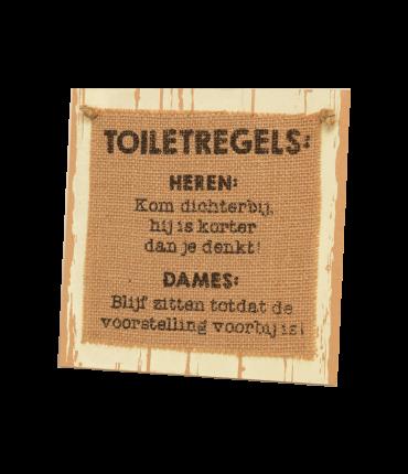 Wooden sign - Toiletregels