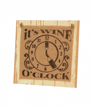 Wooden sign - Wine o'clock