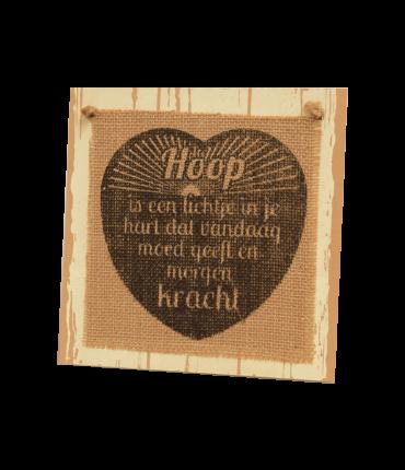 Wooden sign - Hoop is een lichtje