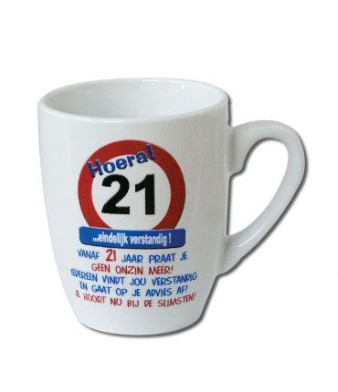 Verkeersbord mok - 21 jaar