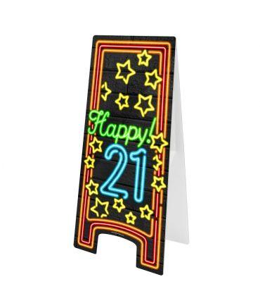 Neon Warning Sign - 21 jaar