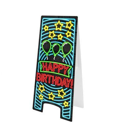 Neon Warning Sign - Happy birthday