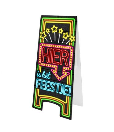 Neon Warning Sign - Hier is het feestje!