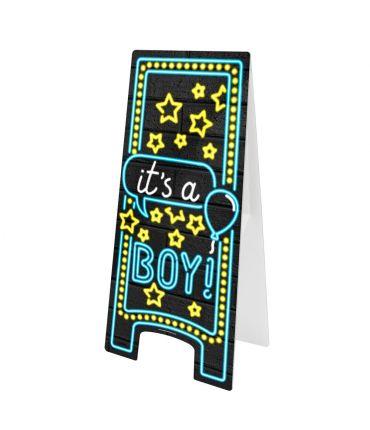 Neon Warning Sign - Geboorte jongen