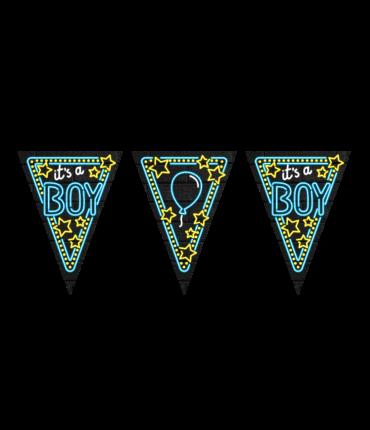 Neon party flag - It's a boy!