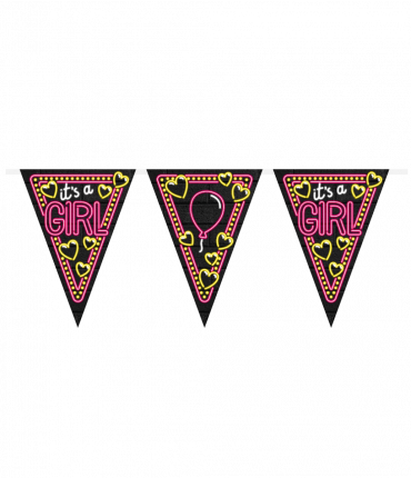 Neon party flag - It's a girl!