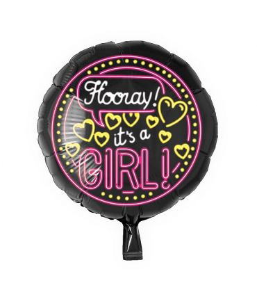 Neon Foil balloon - It's a girl