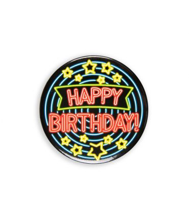 Neon button - Happy birthday