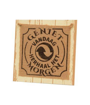 Wooden sign - Geniet vandaag