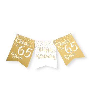 Party flag banner gold/white - 65