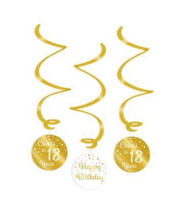 Swirl decorations gold/white - 18