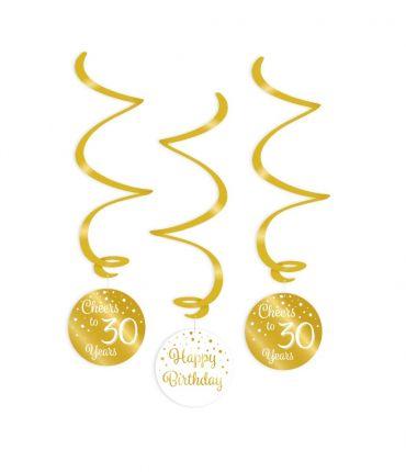 Swirl decorations gold/white - 30