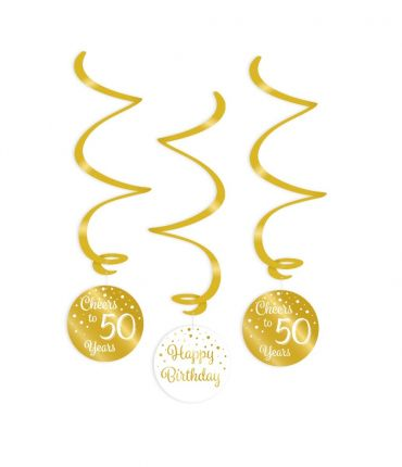 Swirl decorations gold/white - 50