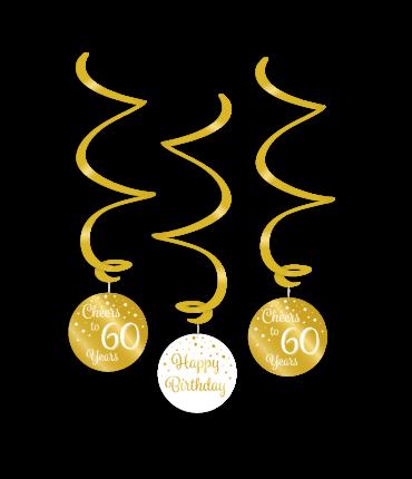 Swirl decorations gold/white - 60
