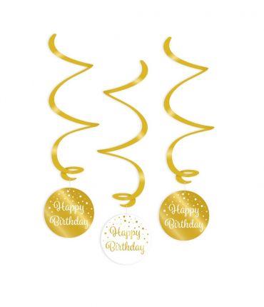 Swirl decorations gold/white - Happy birthday