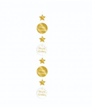 Hanging deco gold/white - Happy birthday