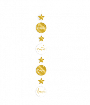 Hanging decoration gold/white - Congrats