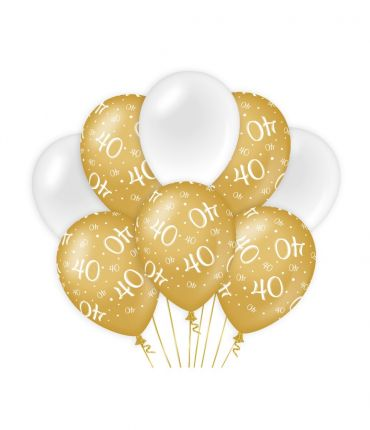 Decoration balloons Gold/white - 40