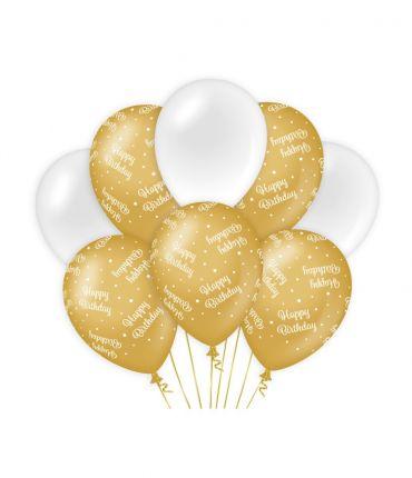 Decoration balloons Gold/white - Happy birthday