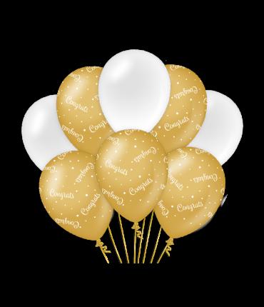 Decoration balloons gold/white - Congrats
