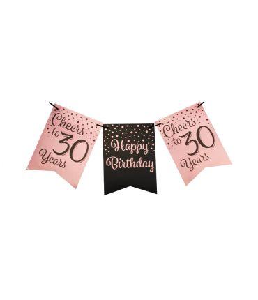 Party flag banner rose/black - 30