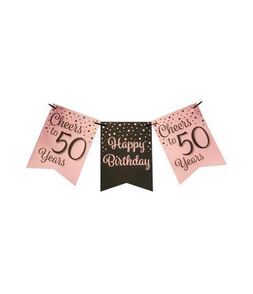 Party flag banner rose/black - 50