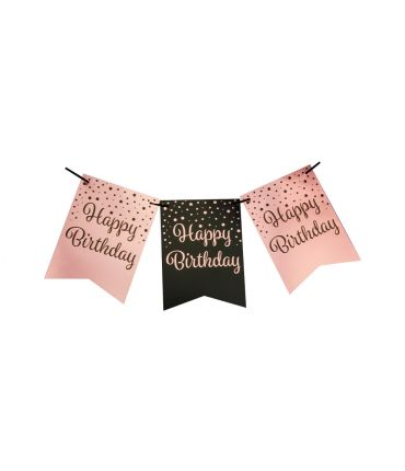 Party flag banner rose/black - Happy birthday