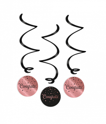 Swirl decorations rose/black - Congrats