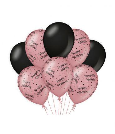 Decoration balloons Rose/black - Happy birthday
