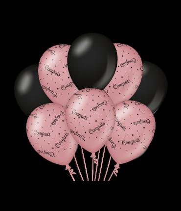 Decoration balloons rose/black - Congrats