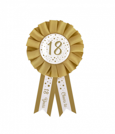Party Rosettes gold/white - 18
