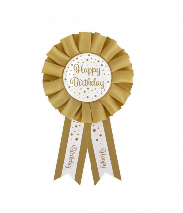 Party Rosettes gold/white - Happy birthday