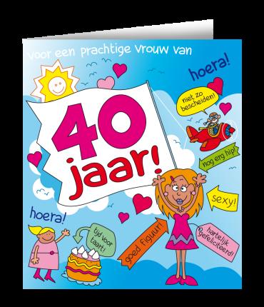 Wenskaarten - 40 jaar vrouw cartoon