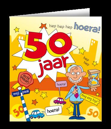 Wenskaarten - 50 jaar man cartoon