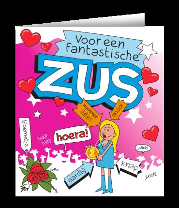 Wenskaarten - Zus cartoon