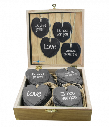 Natuurstenen Hartjes - Box 4 Loving