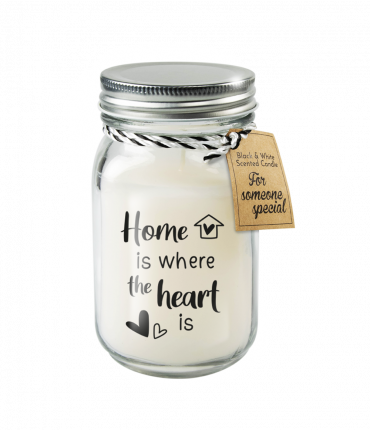 Black & White scented candles - Home is where the heart