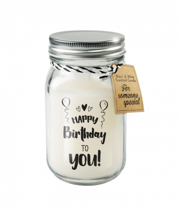 Black & White scented candles - Happy birthday