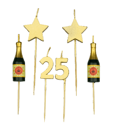 Party cake candles - 25 years
