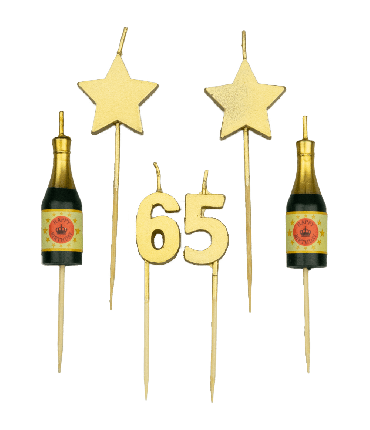 Party cake candles - 65 years