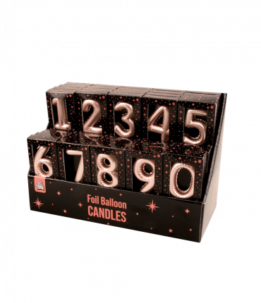 Counterbox foil balloon candles rose
